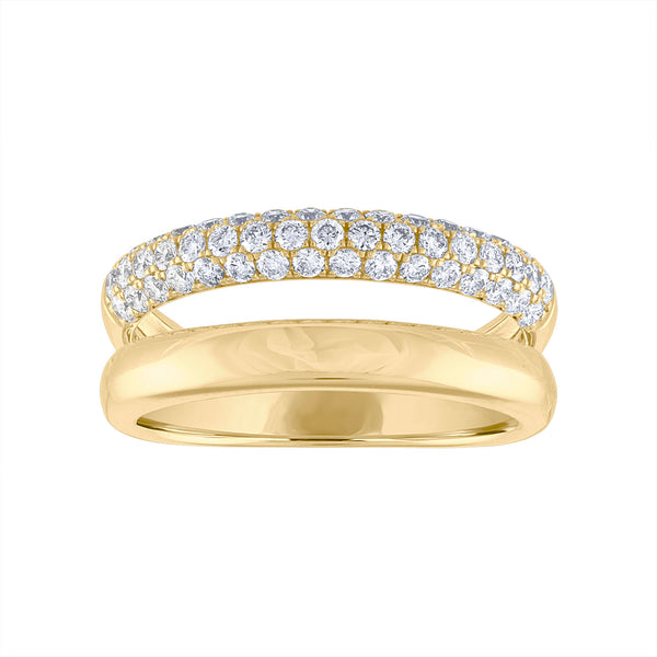 14KT GOLD DIAMOND AND SOLID GOLD TWO ROW RING