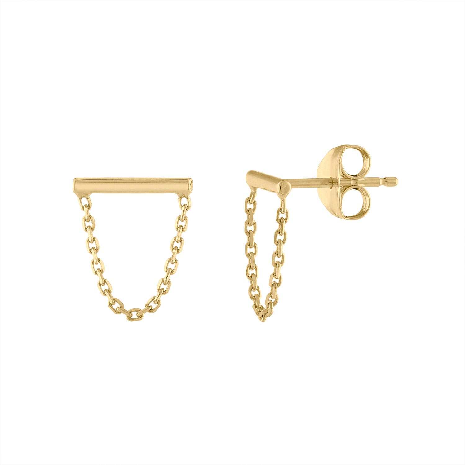 14KT GOLD BAR AND CHAIN EARRING