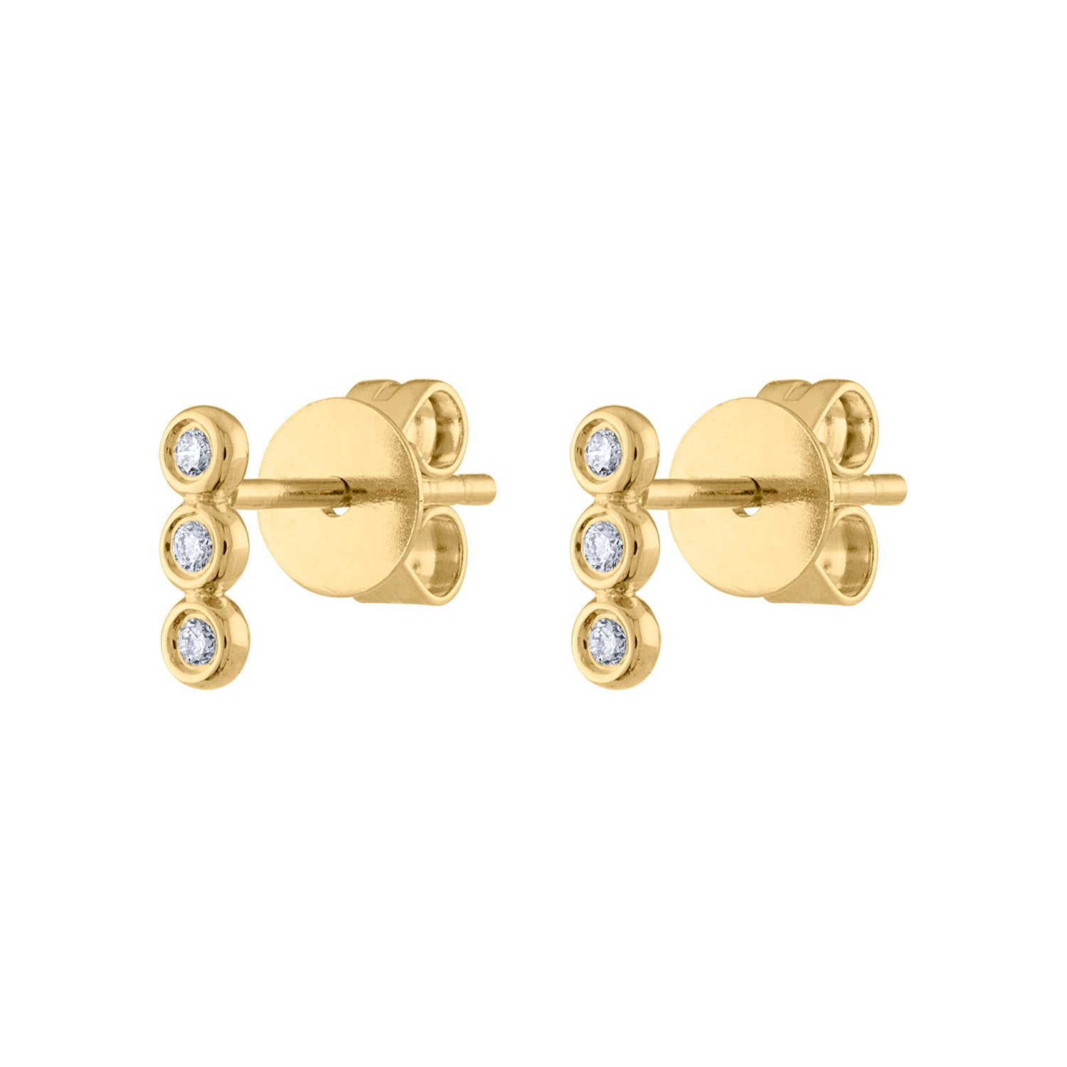 14KT GOLD DIAMOND THREE BEZEL BAR EARRING
