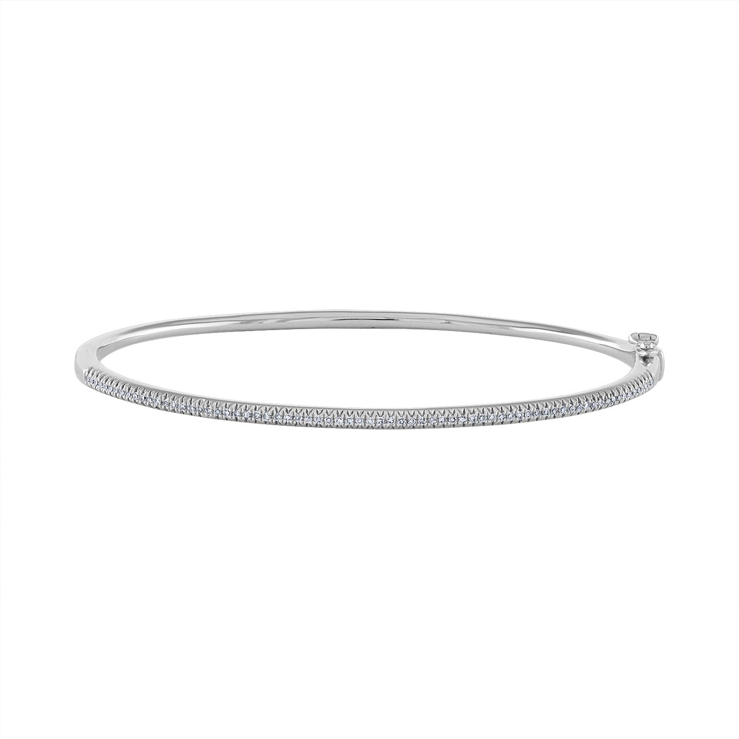 14K White Gold diamond half way around bangle