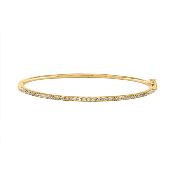 14K Yellow Gold diamond half way around bangle