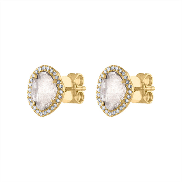 14KT GOLD DIAMOND SLICE EARRING