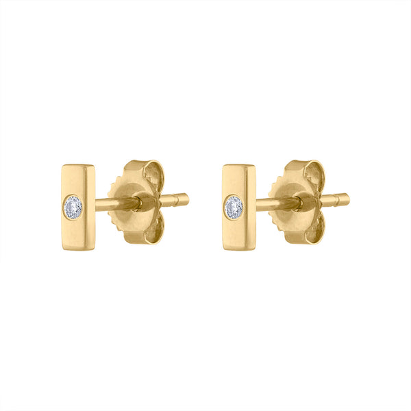 14KT GOLD SHINY DIAMOND BAR EARRING
