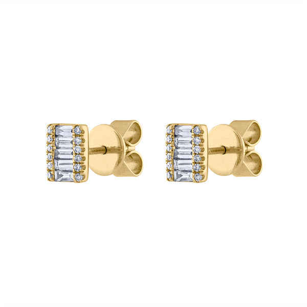 14KT GOLD DIAMOND BAGUETTE RECTANGLE EARRING
