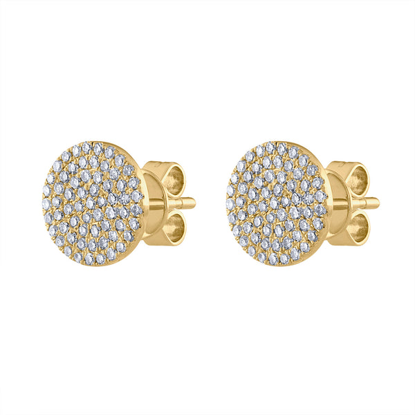 14KT GOLD MEDIUM PAVE DIAMOND DISK EARRING