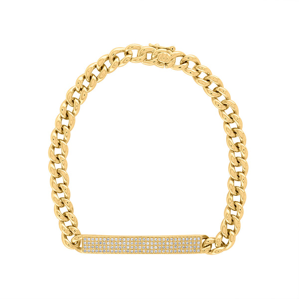 14KT GOLD PAVE DIAMOND I.D. BAR BRACELET