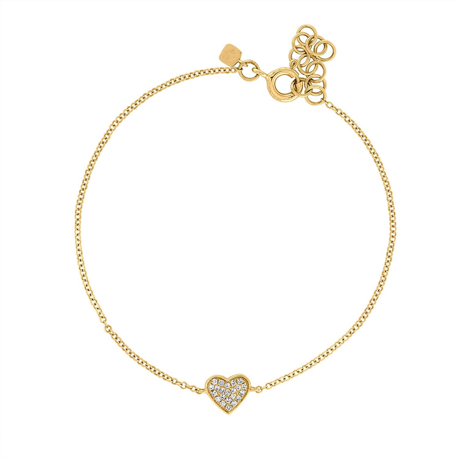 14KT GOLD DIAMOND PAVE HEART BRACELET
