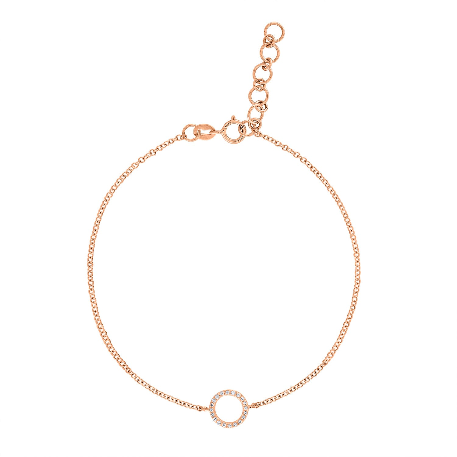 14k Rose Gold diamond open circle bracelet
