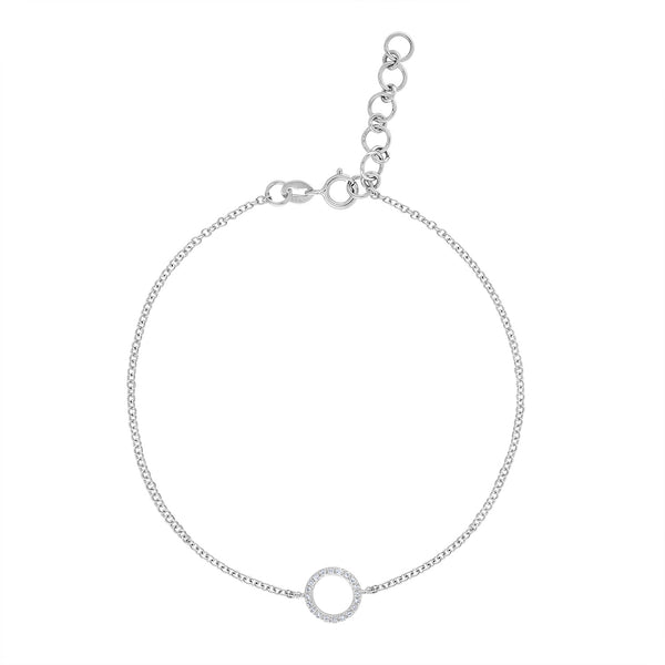 14k White Gold diamond open circle bracelet