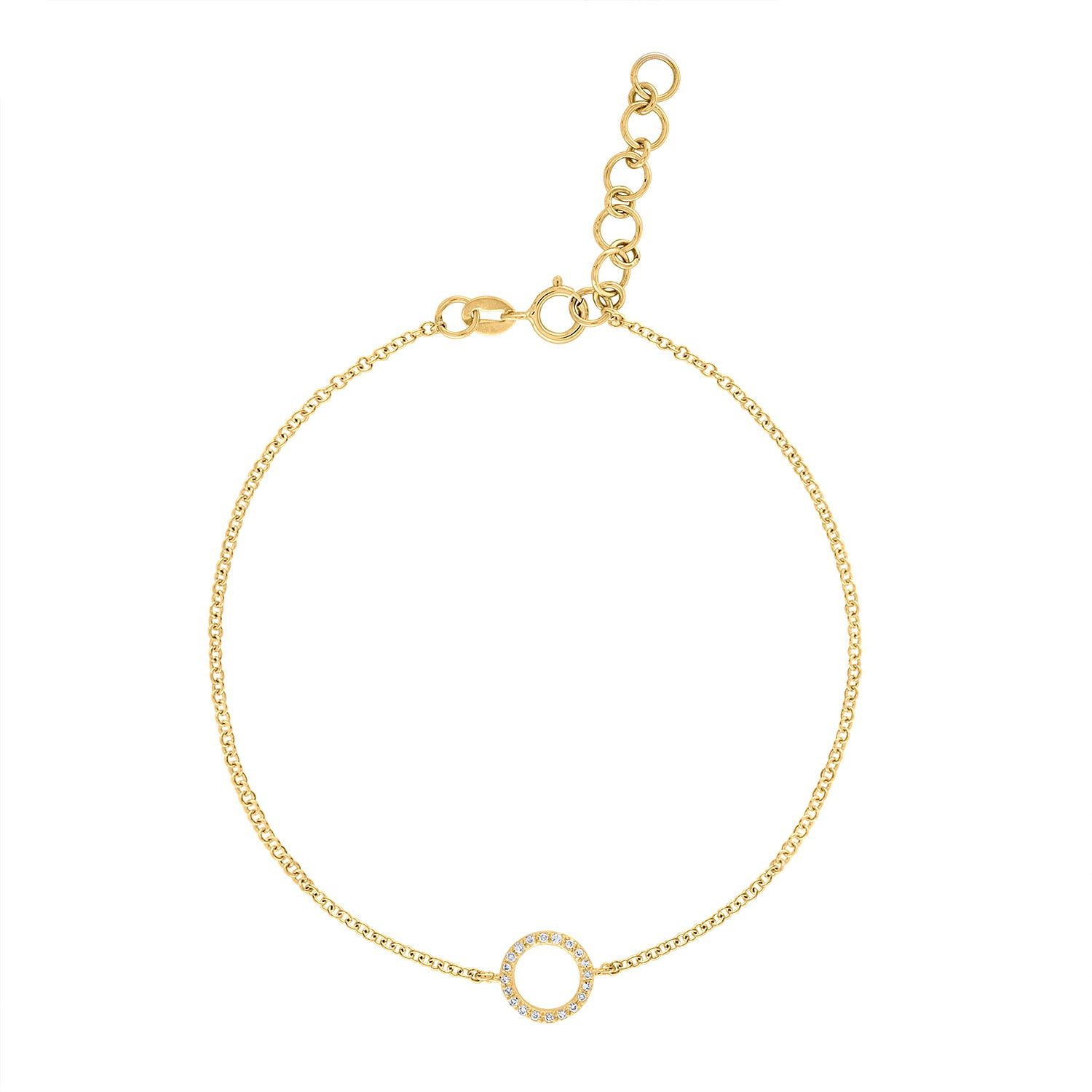 14k Yellow Gold diamond open circle bracelet