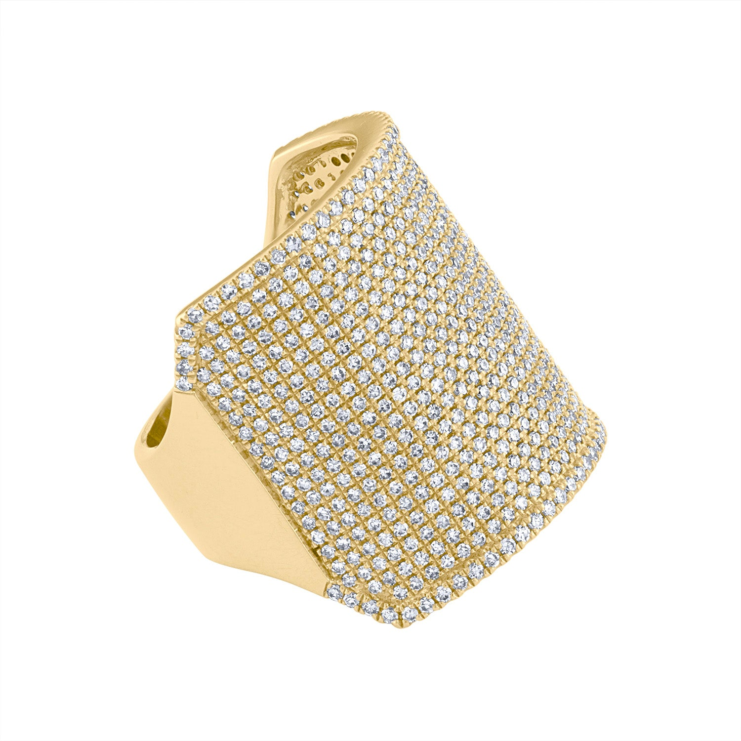 14KT GOLD PAVE DIAMOND WIDE RECTANGULAR RING