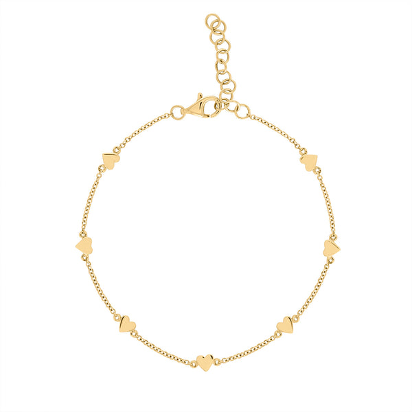 14k Yellow Gold plain heart bracelet