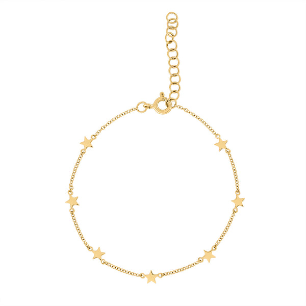 14k Yellow Gold plain 5 stars by the yard bracelet