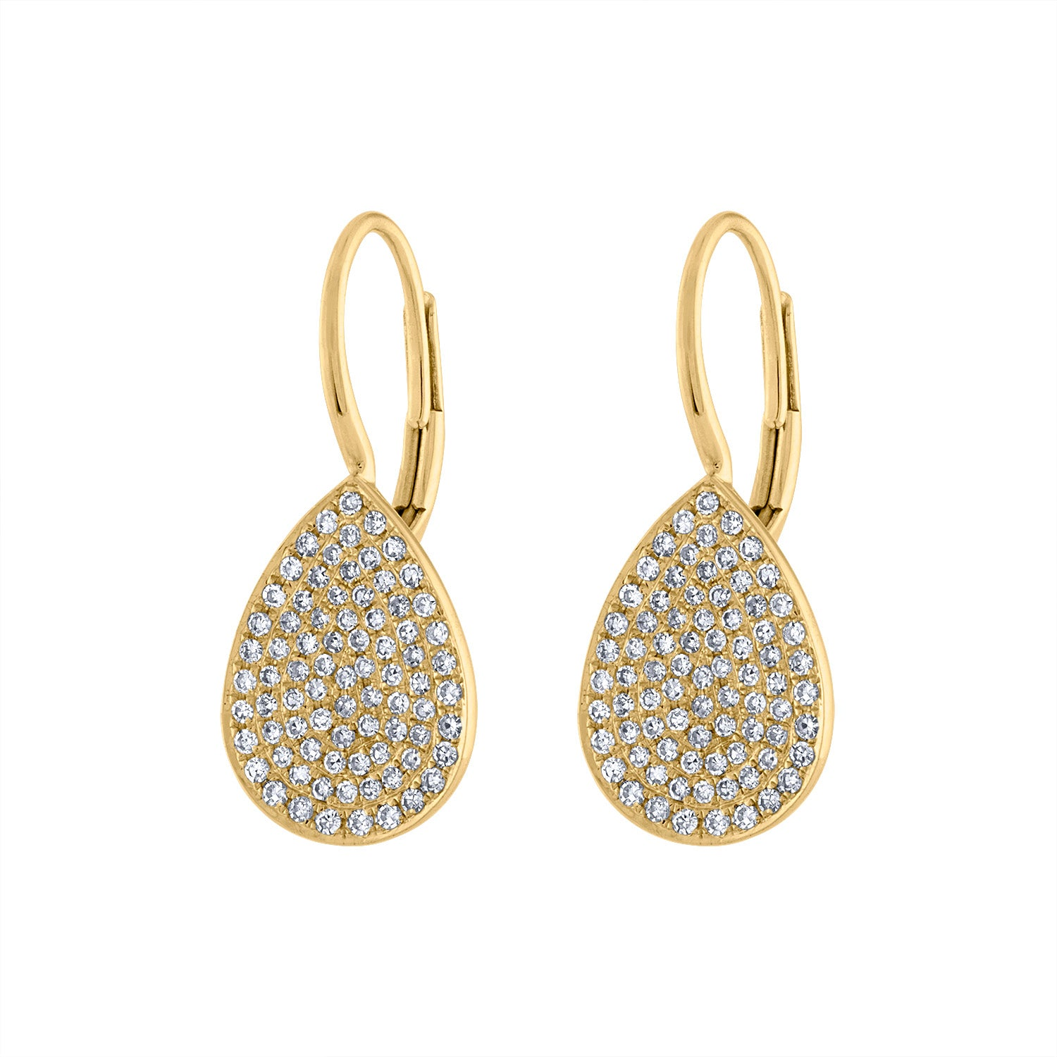 14KT GOLD DIAMOND PAVE TEARDROP EARRING