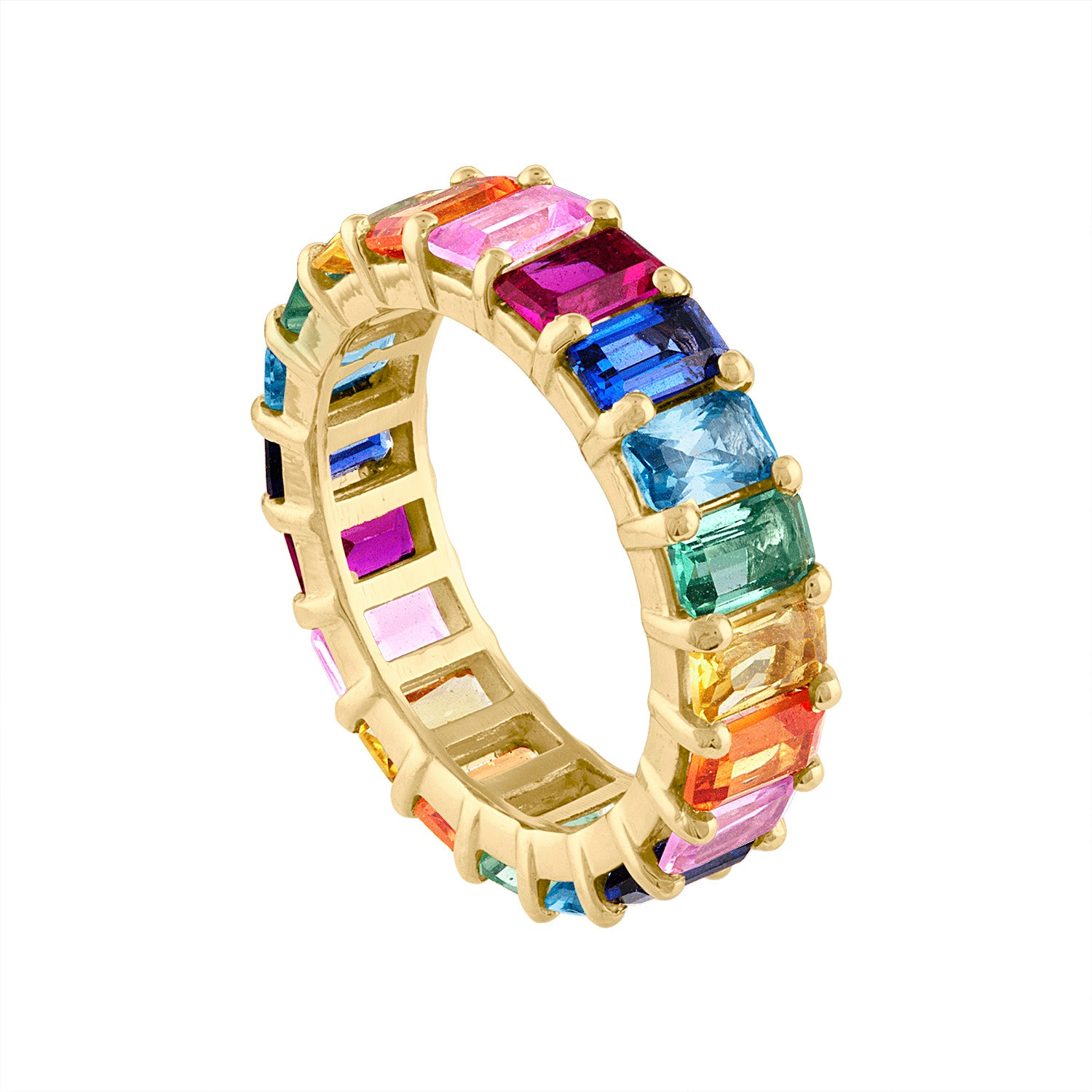 14KT GOLD EMERALD CUT MULTI-COLOR SAPPHIRE RING