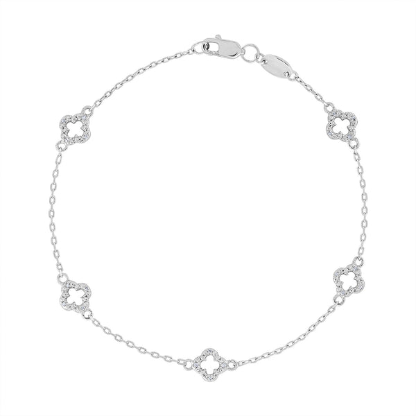 14k White Gold Sterling Silver diamond clover bracelet