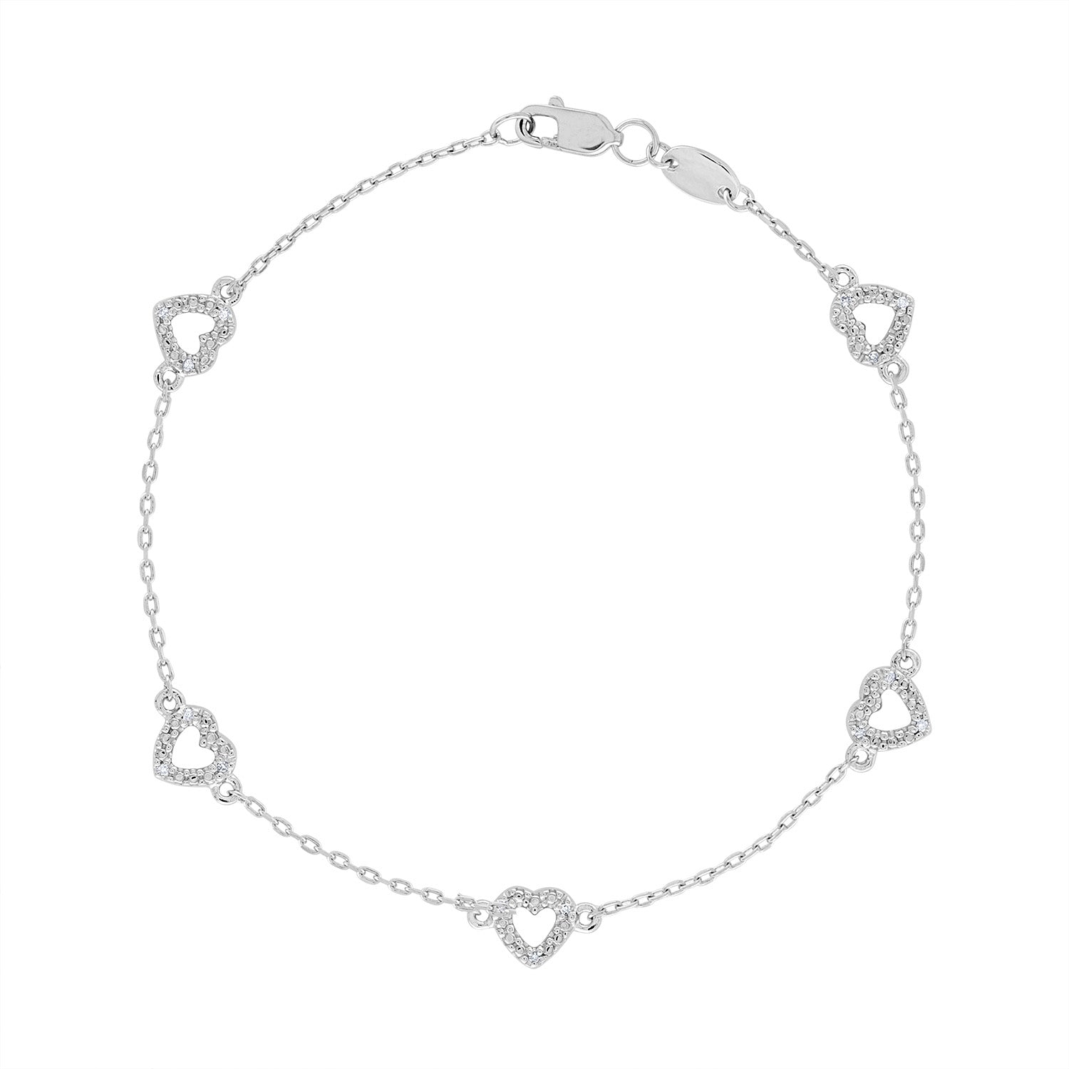 14k White Gold diamond heart bracelet