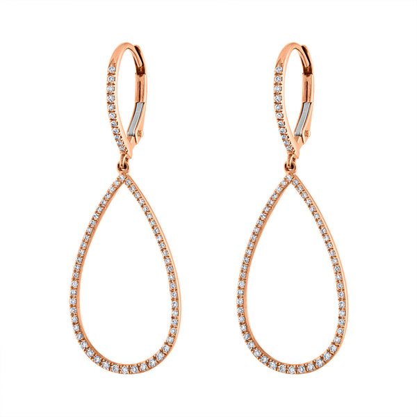 14K Rose Gold small diamond open teardrop earring