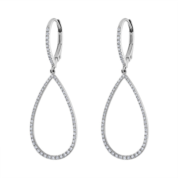 14K White Gold small diamond open teardrop earring
