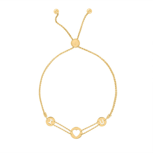 "14k Yellow Gold ""I HEART U"" bracelet"