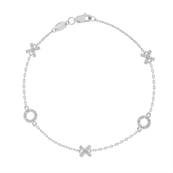 "Sterling Silver diamond ""X O"" bracelet"