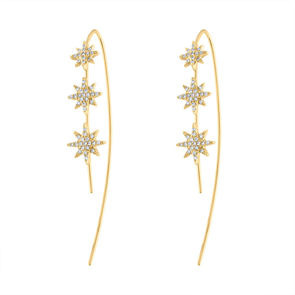 14K Yellow Gold three diamond starburst earring