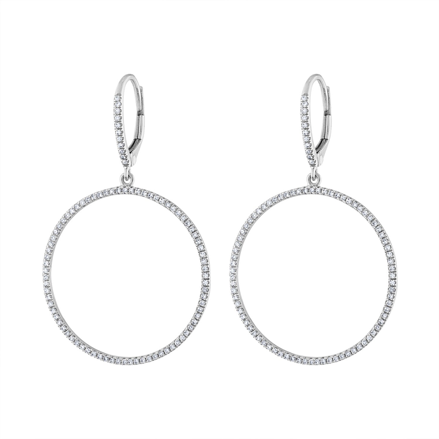 14K White Gold diamond open circle earring