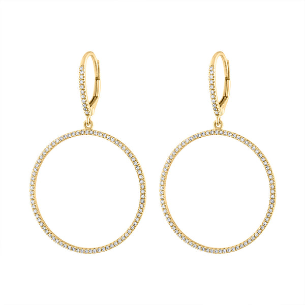 14K Yellow Gold diamond open circle earring