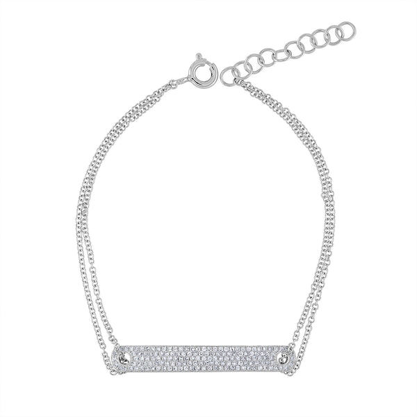 14k White Gold diamond pave ID bar bracelet