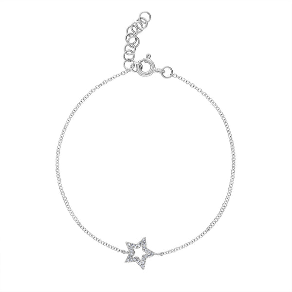 14k White Gold diamond open star bracelet