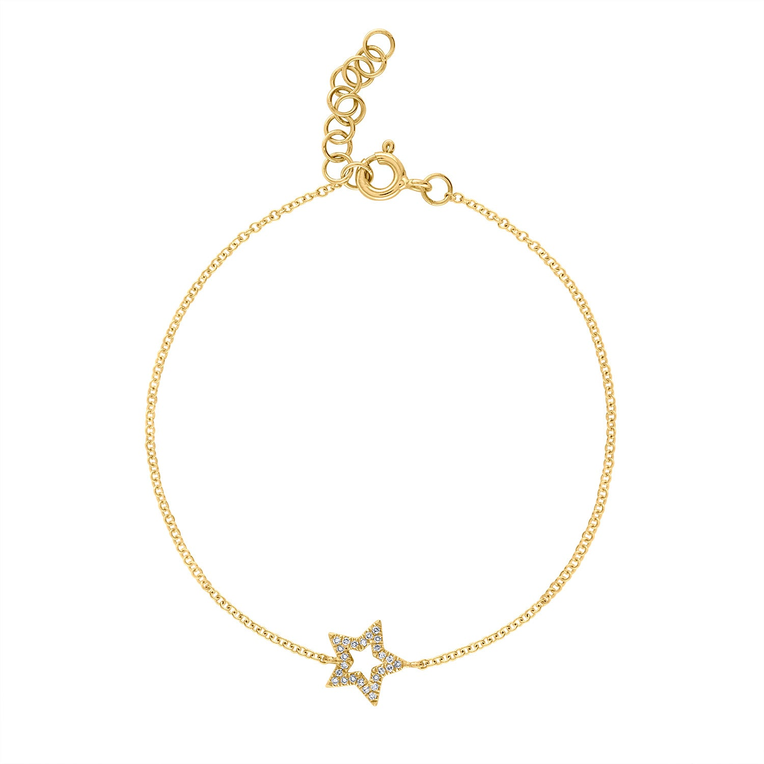 14k Yellow Gold diamond open star bracelet