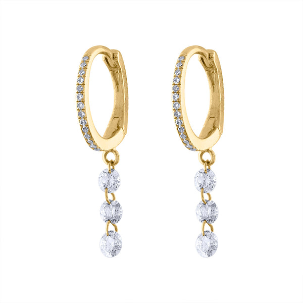 14KT GOLD THREE PIERCED DIAMOND DANGLE EARRING