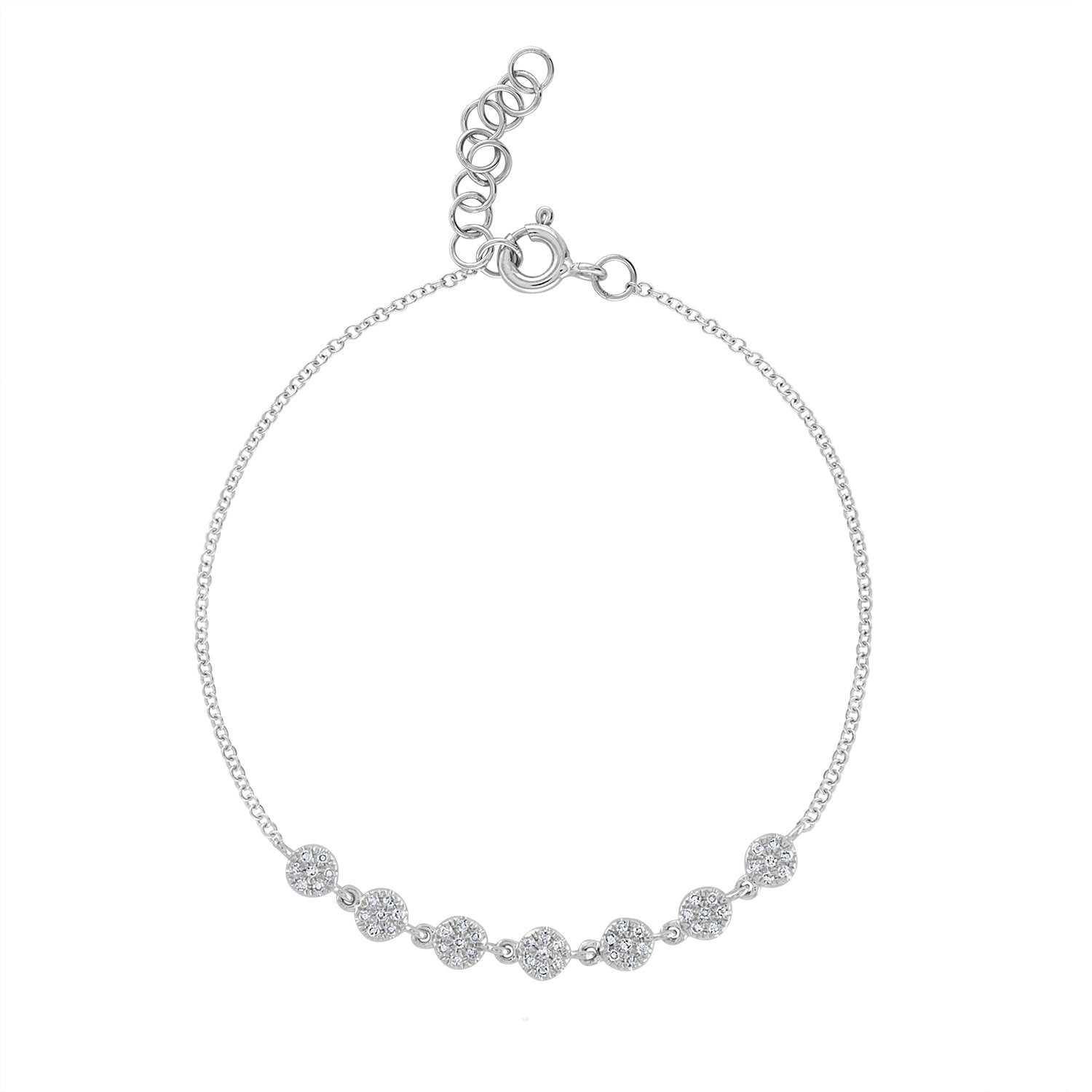 14K White Gold 7 connected pave mini circle bracelet