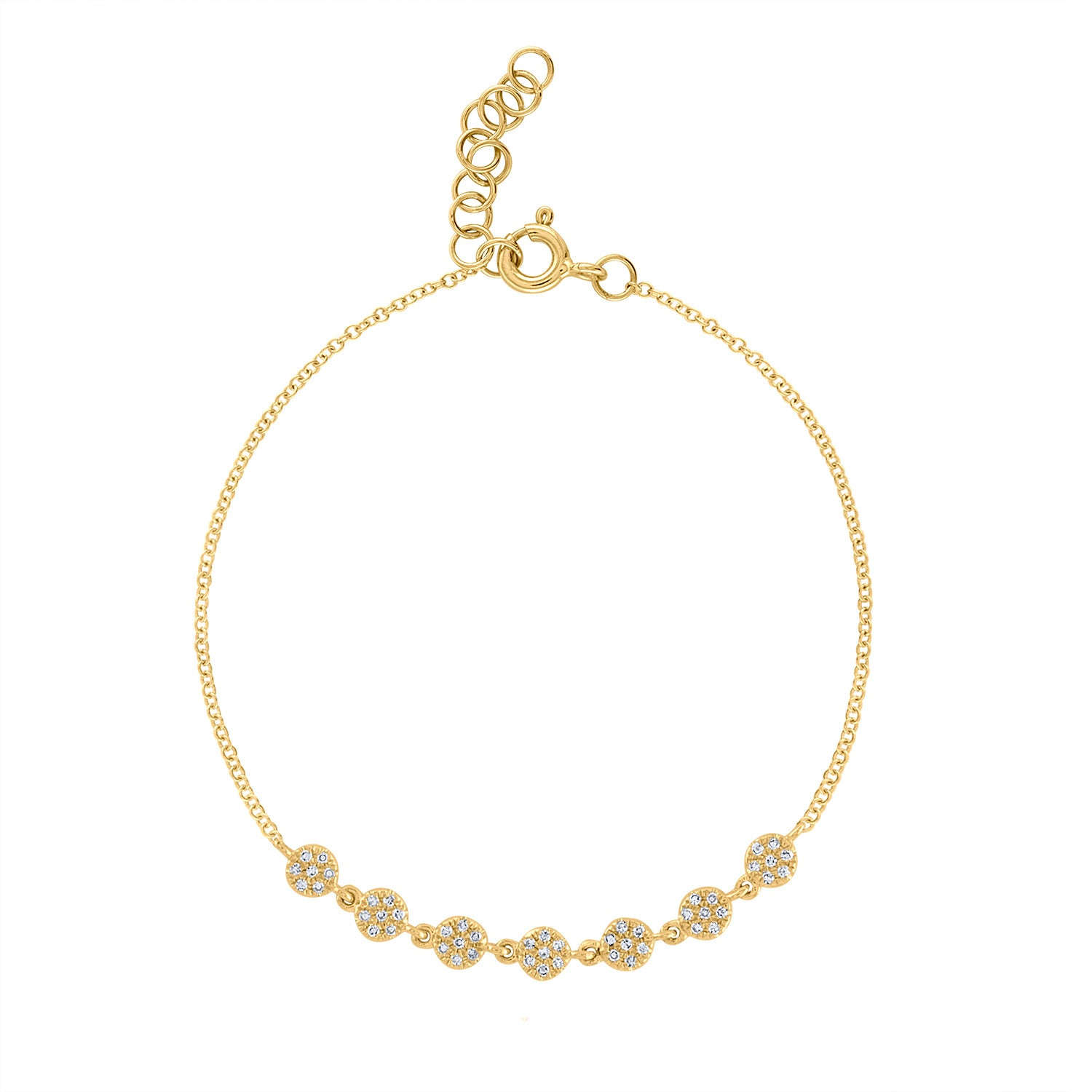 14KYellow Gold 7 connected pave mini circle bracelet