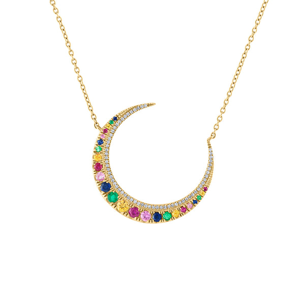 14KT YELLOW GOLD DIAMOND MULTI-COLOR CRESCENT MOON NECKLACE