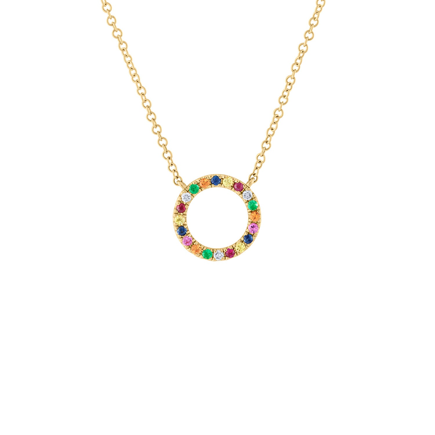 14KT YELLOW GOLD MULTI-COLOR SAPPHIRE OPEN CIRCLE NECKLACE
