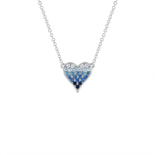 14KT GOLD DIAMOND BLUE SAPPHIRE HEART NECKLACE