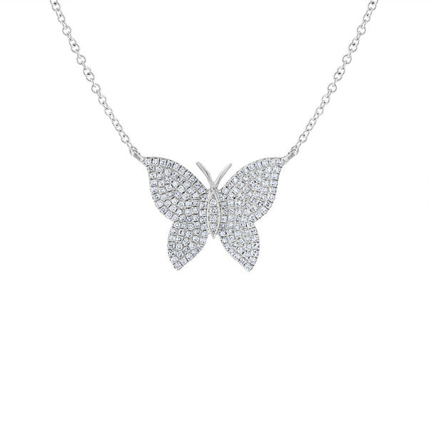 14KT GOLD DIAMOND PAVE BUTTERFLY NECKLACE