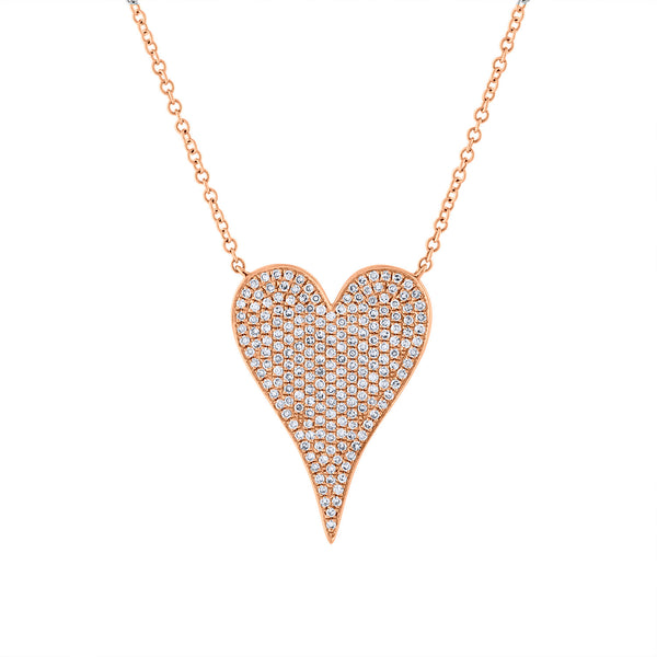 14KT GOLD DIAMOND LARGE MODERN HEART NECKLACE