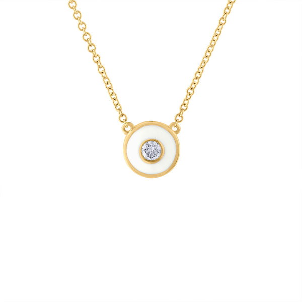 14KT YELLOW GOLD DIAMOND AND WHITE ENAMEL CIRCLE NECKLACE