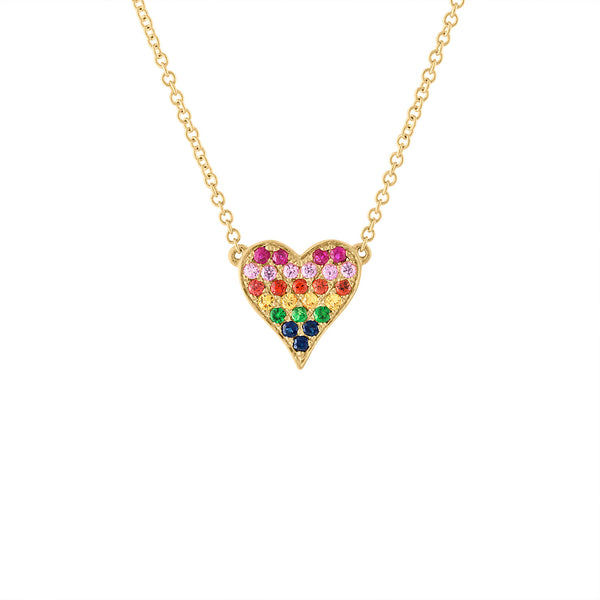 14KT YELLOW GOLD MULTI-COLOR HEART NECKLACE