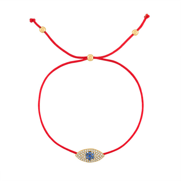 14k Yellow Gold evil eye red rope bracelet
