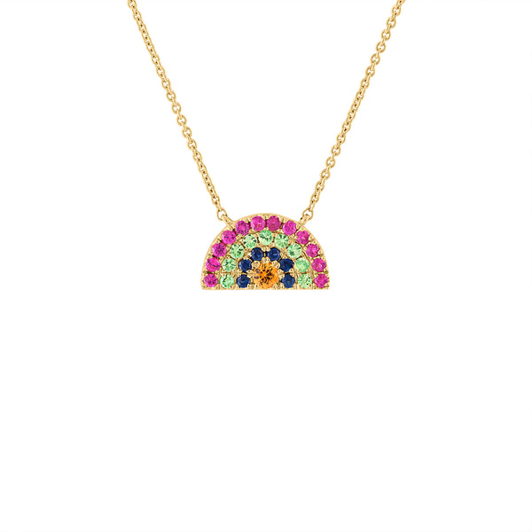 14KT YELLOW GOLD MULTI-COLOR GEM STONES RAINBOW NECKLACE