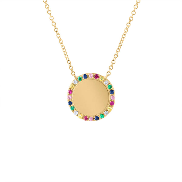 14KT YELLOW GOLD DIAMOND MULTI-COLOR DISK NECKLACE