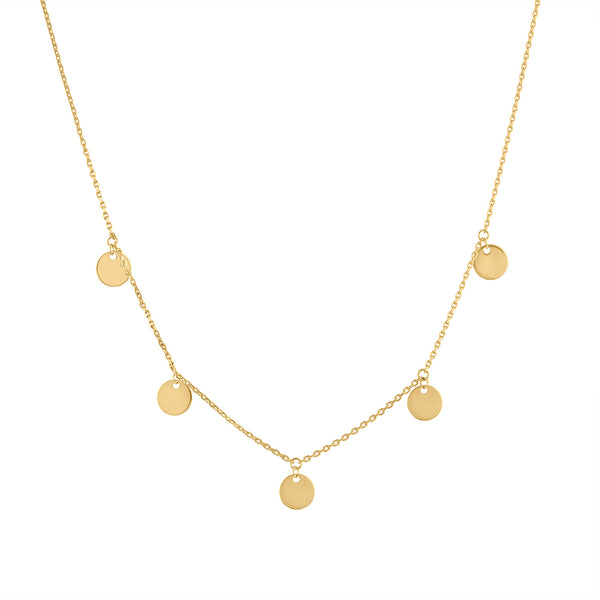 14KT GOLD PLAIN GOLD DISK DANGLING NECKLACE
