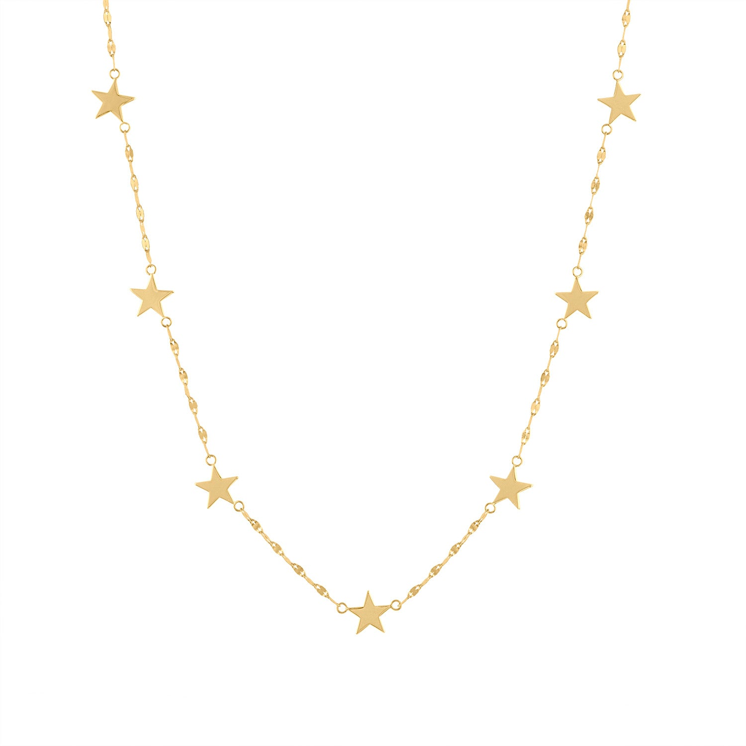 14KT GOLD PLAIN GOLD SEVEN STAR DIAMOND CUT NECKLACE