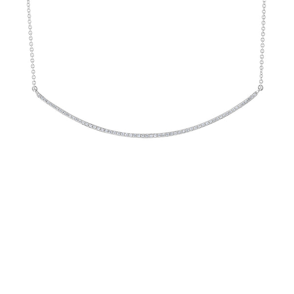 14KT GOLD DIAMOND LONG CURVE BAR NECKLACE