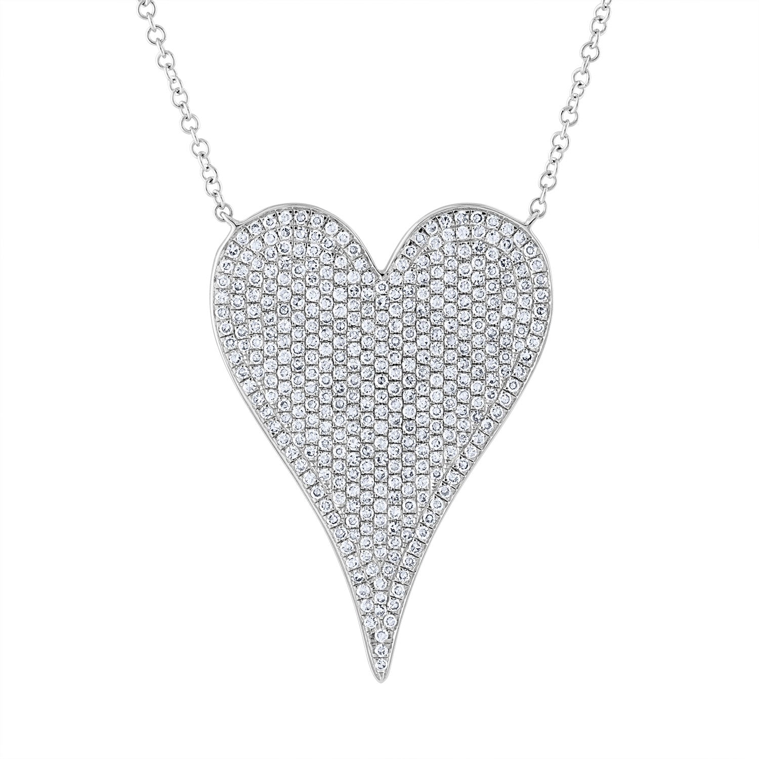 14KT GOLD DIAMOND JUMBO MODERN HEART NECKLACE