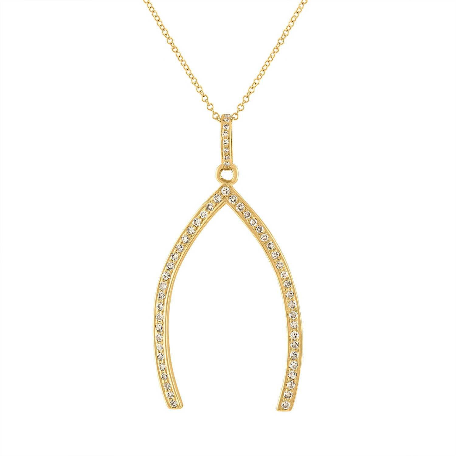 14KT YELLOW GOLD XL DIAMOND WISHBONE CHARM