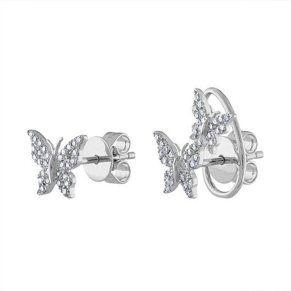 14K White Gold diamond butterfly and double butterfly earring